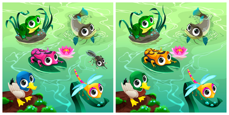 lily pad: Spot the differences. Two images with six changes between them, and cartoon illustrations.