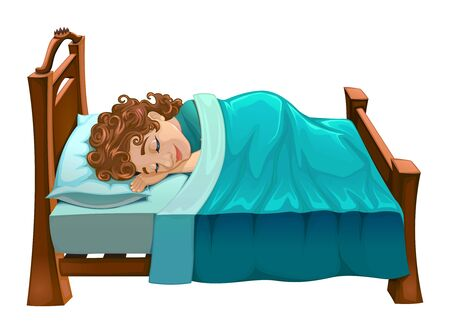 lullaby: Boy is sleeping on his bed. Vector cartoon isolated scene.