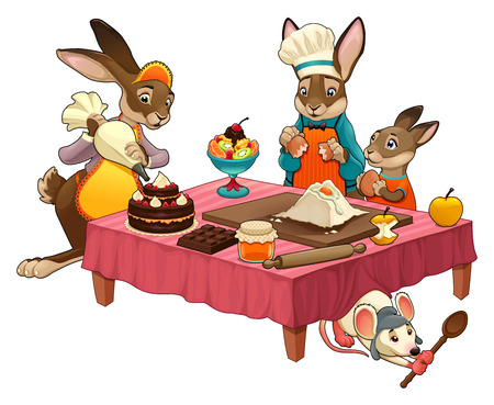 Funny cooking scene with rabbits making sweets. Vector cartoon isolated items.