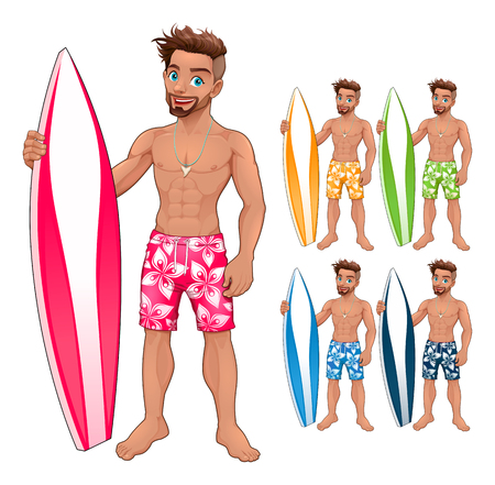 athletic: Surfer boy, in different colors. Vector isolated cartoon characters