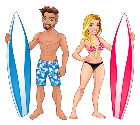 tanned girl: Surfers boy and girl. Vector isolated cartoon characters