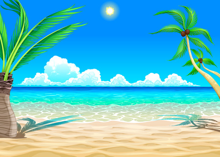 shore: View on the beach. Vector cartoon illustration