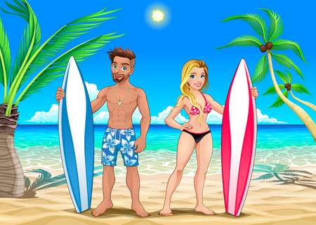 Two surfers on the beach. Vector cartoon illustration