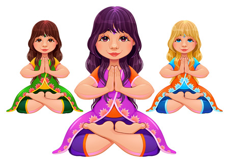 hair colors: Yoga Lotus position. Vartoon vector isolated cartooncharacters in different hair and dress colors.