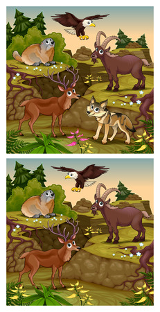 cartoon eagle: Spot the differences. Two images with six changes between them, vector and cartoon illustrations.