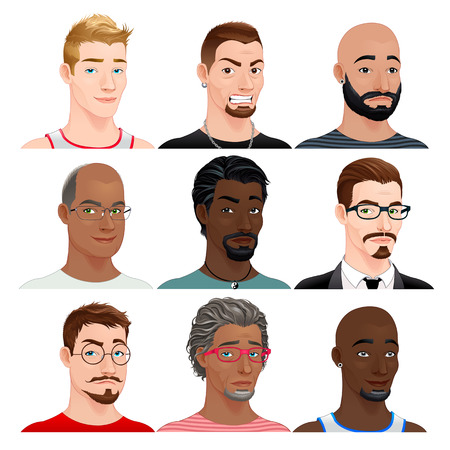 top model: Different male avatars. Vector isolated characters