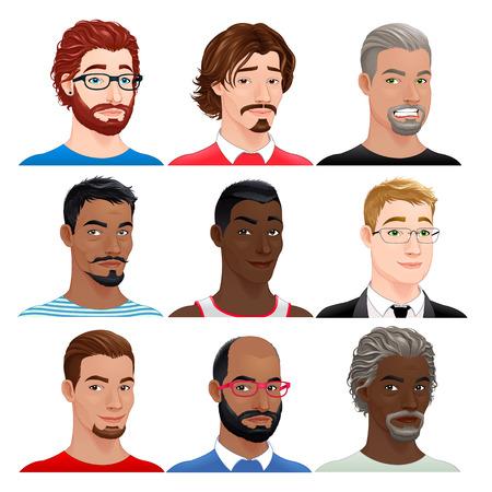 masculin: Diferentes avatares masculinos. personajes aislados vector