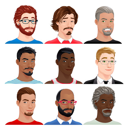 hair color: Different male avatars. Vector isolated characters