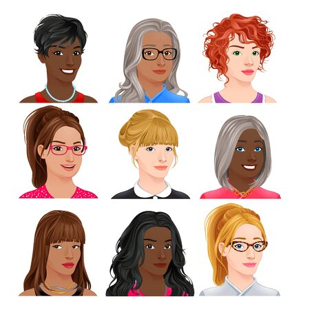 Different female avatars. Vector isolated characters