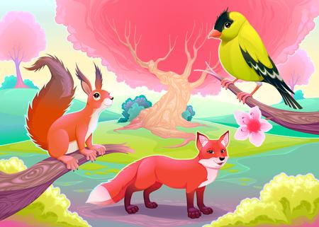 cartoon parrot: Fantasy natural scenery with funny animals. Vector cartoon illustration