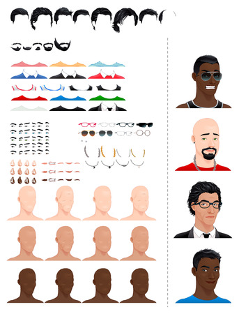 previews: Male avatars. 8 hairstyles, 5 beards, 3 eyes in 5 colors, accessories and 3 color skins, in different ages and head shapes. Previews on the right side. Vector file, isolated objects.