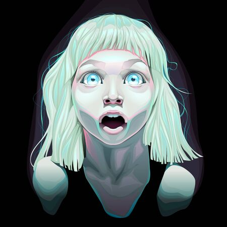 wide open: Young girl with wide open eyes. Vector illustration