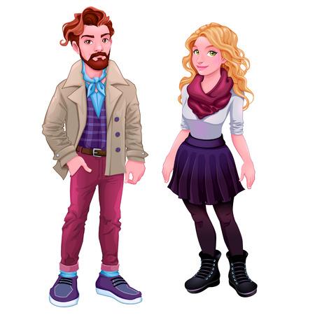 mujeres fashion: Moda personajes jóvenes. personas aisladas Vector de dibujos animados