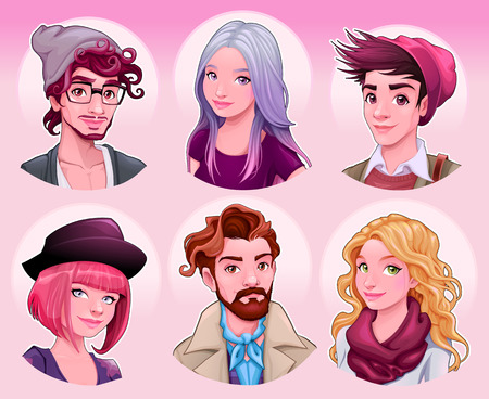 zapatos caricatura: Grupo de jóvenes. Moda personajes de vectores de dibujos animados.