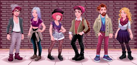 Grupo de los jóvenes de origen subterráneo. Moda de dibujos animados ilustración vectorial.