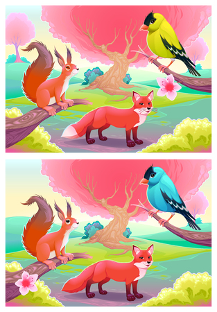 difference: Spot the differences. Two images with six changes between them, vector and cartoon illustrations.