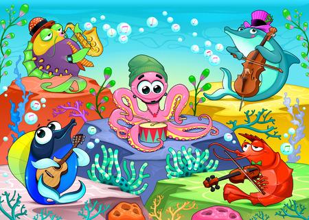 Orchestra in de zee. Grappige muzikale scène met de groep van mariene dieren, vector cartoon illustratie.