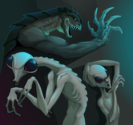 reptilian: Three types of aliens: reptilian, grey and insectoid. Vector illustration