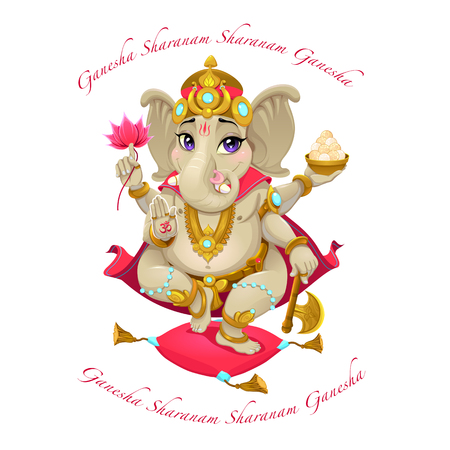 mantra: Cartoon representation of eastern god Ganesha, with mantra. Vector isolated character. Illustration