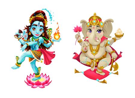 eastern spirituality: Representation of hindu gods Shiva and Ganesha. Vector cartoon isolated characters.