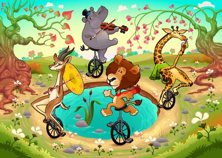violinista: animales salvajes divertidos en monociclos están jugando en la madera. ilustración de dibujos animados de vectores