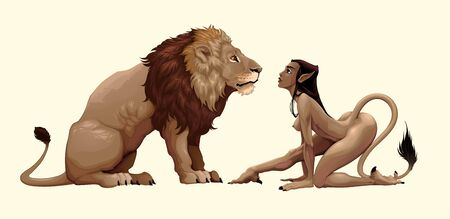 Lion and mythological feminine character are watching each other.  fantasy illustration