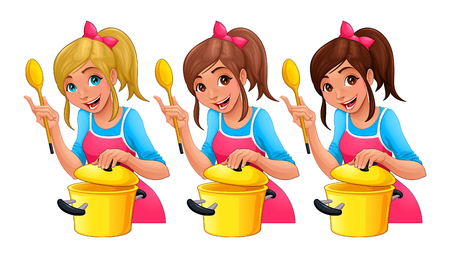hair colors: Girl with spoon is cooking. Three isolated cartoon characters with different hair colors. Illustration