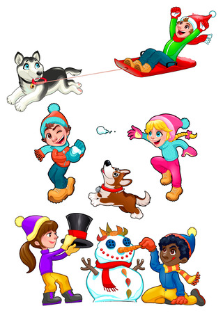 sledge dog: Children are playing with snow. Funny winter isolated elements, vector cartoon illustration. Illustration