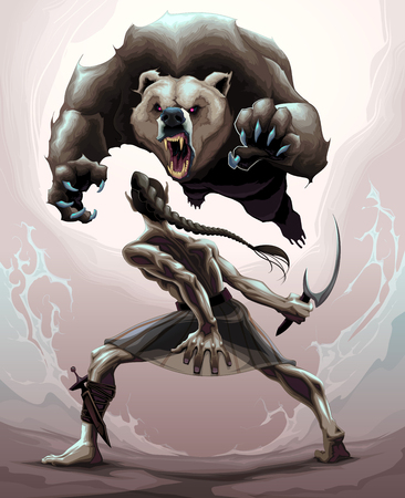 pelea: escena de la batalla entre un duende y un oso agry. ilustración de la fantasía del vector