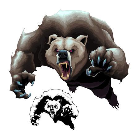 Oso pardo enojado. dibujos animados de elementos aislados en dos versiones: en color y en blanco y negro Ilustración de vector