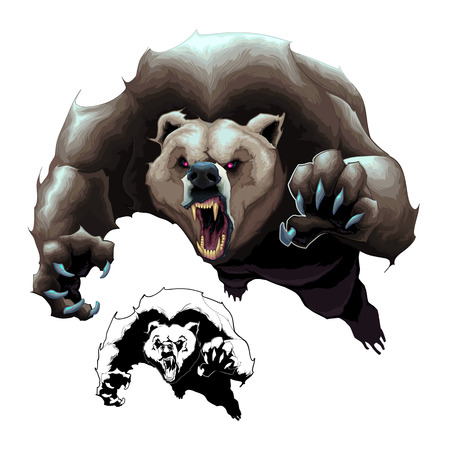 Angry brown bear.  cartoon isolated elements in two versions: colored and black and white Illustration
