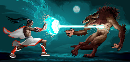 Fighting scene between elf and werewolf. Fantasy vector illustration Illustration