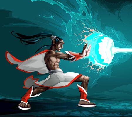 Elf is creating a lighting with magic power. Vector cartoon fantasy illustration