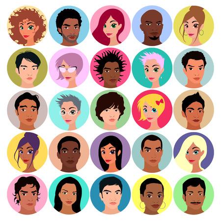 diversidad: Colección de avatares femeninos y masculinos. Colores planos, ilustración vectorial