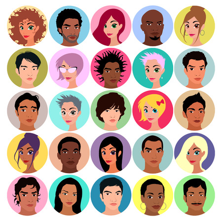 diversity: Collection of female and male avatars. Flat colors, vector illustration Illustration