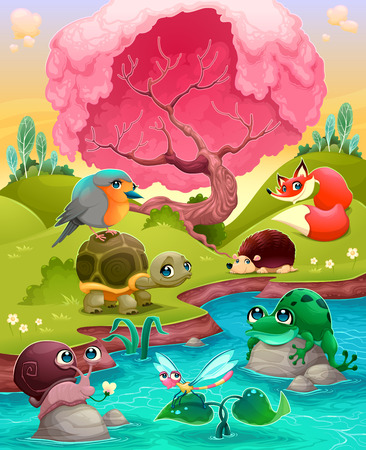 Group of cute animals in the countryside. Vector cartoon illustration Illustration