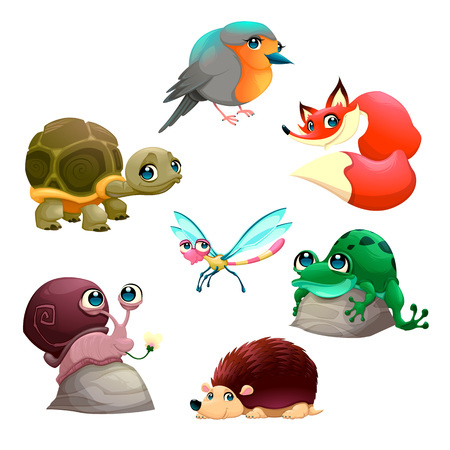 funny: Group of cute isolated animals. Vector cartoon characters.