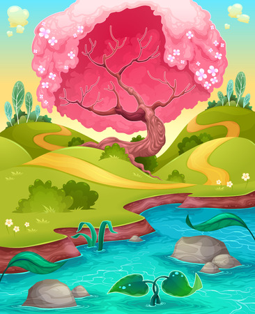panoramic nature: Landscape in the countryside. cartoon illustration