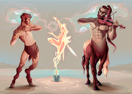 Evocation of the spirit of the music. Vector conceptual illustration with fairy, centaur and faun.