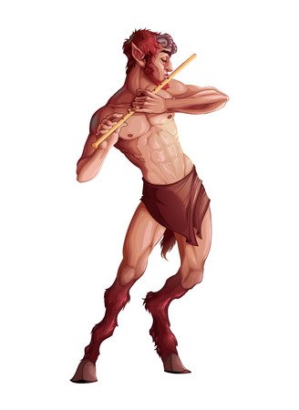 classical mythology character: Faun playing the flute. Isolated fantasy character Illustration