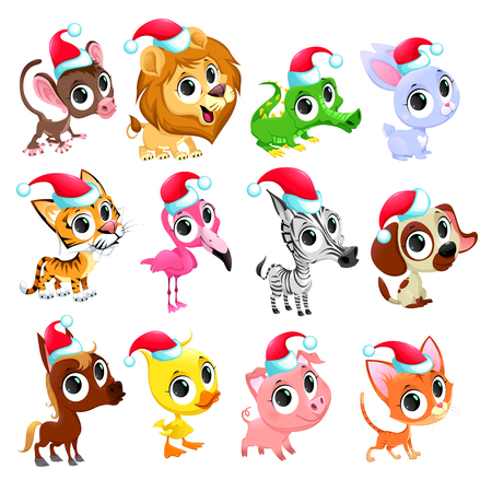 claus: Funny Christmas animals. Vector isolated elements. Illustration