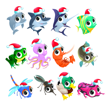 shark catfish: Funny Christmas animals. Vector isolated elements. Illustration