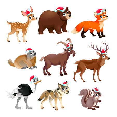 Funny Christmas animals. Vector isolated elements. Illustration