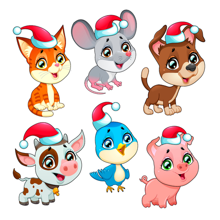 cat and mouse: Funny Christmas farm animals. Vector isolated elements.