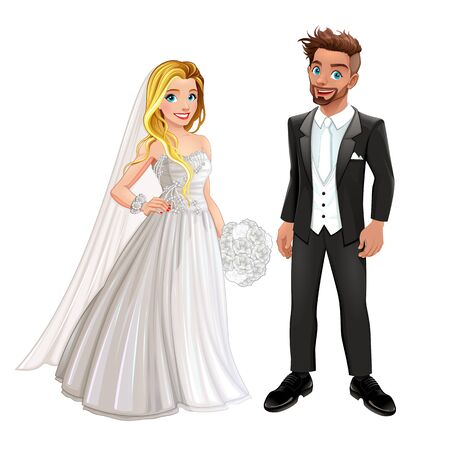Bride and groom in the wedding day. Vector isolated cartoon characters.
