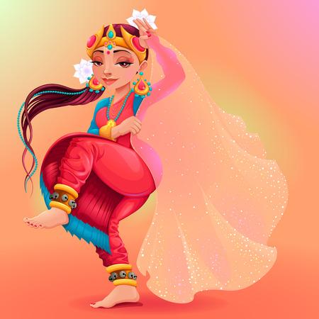Danzatrice indiana rappresenta il velo di Maya. personaggio dei cartoni animati di vettore isolato Archivio Fotografico - 69579522