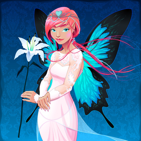 Portrait of a young fairy with a wedding dress and lilium. Vector illustration