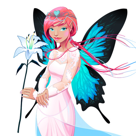 lilium: Portrait of a young fairy with a wedding dress and flower. Vector illustration