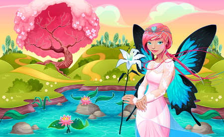 Portrait of a young fairy in a fantasy landscape. Vector illustration