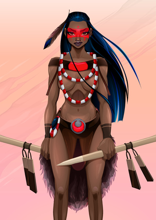 black fashion model: Beautiful amazon warrior. Vector illustration